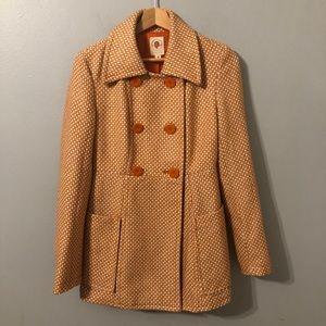 Tulle Double Breasted Orange/Cream Print Blazer S